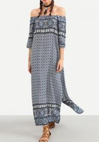 Blue Floral Bandeau Off Shoulder Side Slits Backless Boho Flowy Beach Maxi Dress