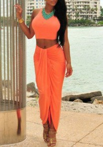 Robe maxi 2-en-1 irrégulier col rond mode orange