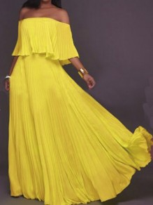 Yellow Pleated Ruffle Backless Off Shoulder Chiffon Ruched Formal Elegant Bohemian Maxi Dress