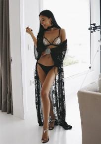 Black Patchwork Lace Belt Elbow Sleeve Fashion Maxi Dress