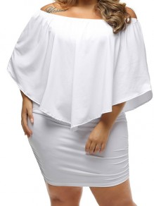 White Bandeau Ruffle Off Shoulder Backless Plus Size Mini Dress