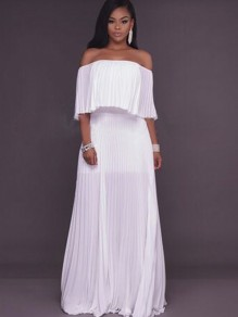 White Ruffle Bandeau Off Shoulder Pleated Backless Party Beach Chiffon Maxi Dress