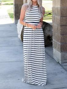Black-White Striped Round Neck Sleeveless Casual Maxi Dress