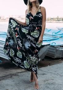 Longue robe imprimé feuille bretelle coulisse à la taille v-cou sans manches été bohemian noir