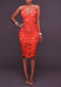 Orange Floral Zipper Cut Out Lace Spaghetti Strap Deep V Backless Mini Dress