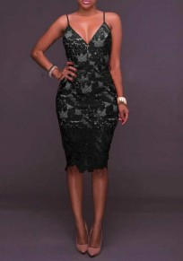 Black Floral Zipper Cut Out Lace Spaghetti Strap Deep V Backless Mini Dress
