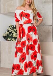 White Flowers Print Draped Off Shoulder Plus Size Bohemian Maxi Dress