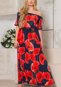 Dark Blue Flowers Print Draped Off Shoulder Plus Size Bohemian Maxi Dress