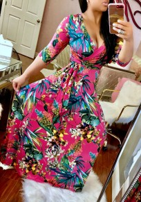 Rose Carmine Floral Print Sashes Draped 3/4 Sleeve A-line Vintage Maxi Dress