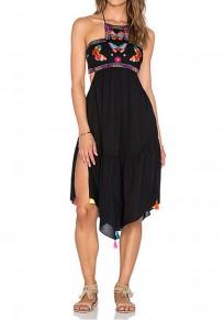 Black Floral Grenadine Tie Back Chiffon Midi Dress