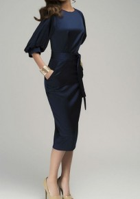 Dark Blue Sashes Pockets Lantern Sleeve Fashion Midi Dress