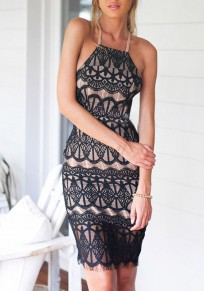 Black Lace Tie Back Double-deck Backless Midi Dress