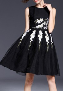 Black-White Flowers Grenadine Embroidery Pleated Elegant Tutu Mini Dress