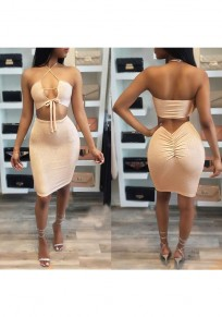 Champagne Lace-up Spaghetti Strap Off Shoulder Backless Tie Back Halter Neck Mini Dress