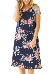 Dark Blue Patchwork Print Round Neck Short Sleeve Midi Dress
