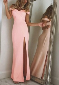 Pink Irregular Side Slit Boat Neck Maxi Dress