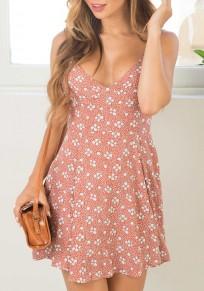 Mini-robe liberty imprimé bretelle drapé v-cou sans manches été rose