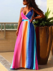 Pink Rainbow Pleated Spaghetti Strap V-neck Backless Bohemian Beach Maxi Dress