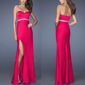 Rose Carmine Slit Belt Bandeau Classic Maxi Dress