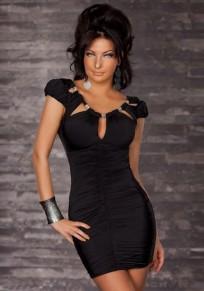 Black Studded Irregular Ruffle Backless Round Neck Short Sleeve Mini Dress