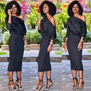 Black Asymmetric Shoulder One-Shoulder 3/4 Sleeve Slim Maxi Dress