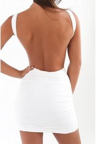 Weißes Rückenfrei Baumwollmischung Minikleid