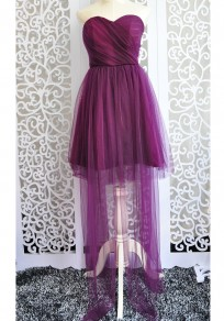 Purple Grenadine Ribbons Bandeau Off Shoulder Backless Bridesmaid Fluffy Puffy Tulle Mini Dress
