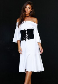 White Ruffle Bandeau Backless Off Shoulder Mermaid Fashion Midi Dress