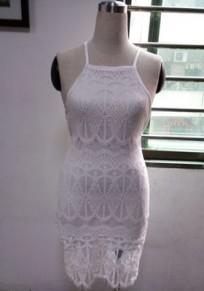 Mini-robe bretelles spaghetti en dentelle à l'arrière de la fente côté épaule bandage blanc