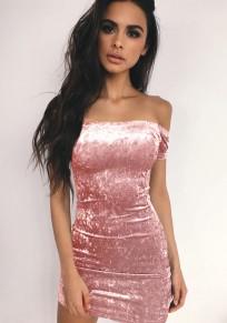 Mini-robe bandeau à fil brillant irrégulier bateau cou mode rose