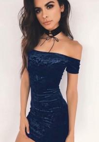 Blue Bandeau Bright Wire Irregular Boat Neck Fashion Mini Dress