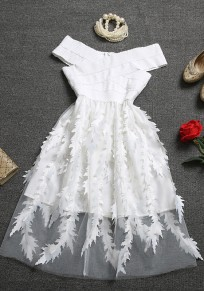 White Floral Patchwork Tulle Bandage Off Shoulder Homecoming Party Flowy Midi Dress