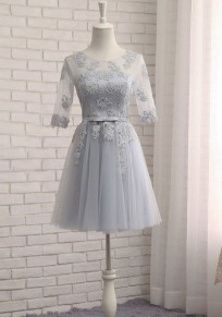 Grey Patchwork Lace Grenadine Bow Lace Up Bridesmaid Tutu Graduated Homecoming Party Mini Dress