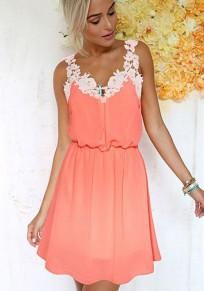 Orange Lace Cut Out Sleeveless Sweet Midi Dress
