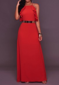 Red Backless Ruffle Spaghetti Straps Cross Back Halter Neck Sleeveless Elegant Prom Maxi Dress