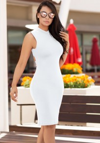 White Cut Out Cross Back Backless Bodycon Party Pencil Midi Dress