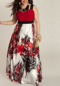 Red Floral Print Draped High Waisted Plus Size Party Maxi Dress