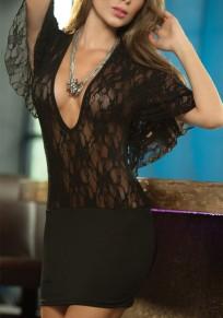 Black Patchwork Irregular Tie Back Fashion Mini Dress