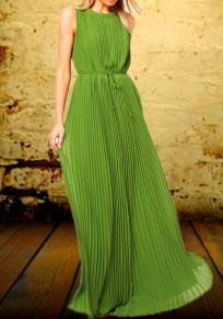 Robe longue plissée drapé avec ceinture col rond sans manches de soirée verte