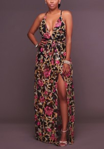 Black Floral Print Embroidery Tie Back Halter Neck Slit Bohemian Maxi Dress