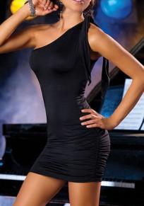 Black Asymmetric Shoulder Ribbons Sleeveless Fashion Mini Dress