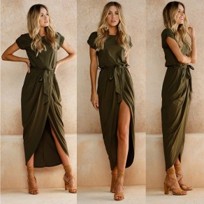 Army Green Sashes Irregular Slit Casual Maxi Dress