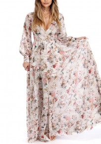 Beige Bohemian Floral Pleated Print V-neck Summer Beach Party Plus Size Maxi Dress