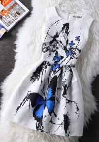 White Animal Print Round Neck Casual Midi Dress