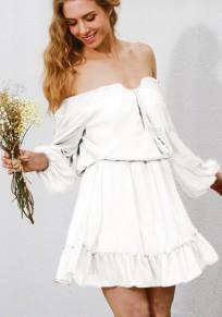 Weiß Rüsche Quaste Bandeau rückenfrei aus Schulter Anpassung Taille Heimkehr Party Mini Kleid