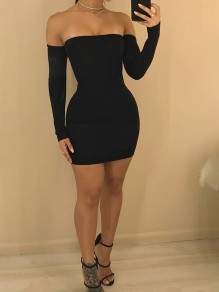 Black Tie Back Bandeau Backless Off Shoulder Cross Back Bodycon Party Mini Dress
