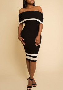 Black Striped Backless Off Shoulder Short Sleeve Bodycon Party Midi Dress