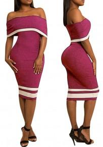 Vestido de midi carmín color de rosa rayado sin espalda del hombro manga corta partido del bodycon