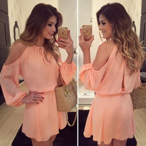 Pink Buttons Draped Off Shoulder Round Neck Long Sleeve Cute Midi Dress