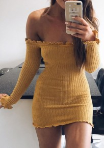 Mini abito bandeau in pizzo spalla indietro giallo